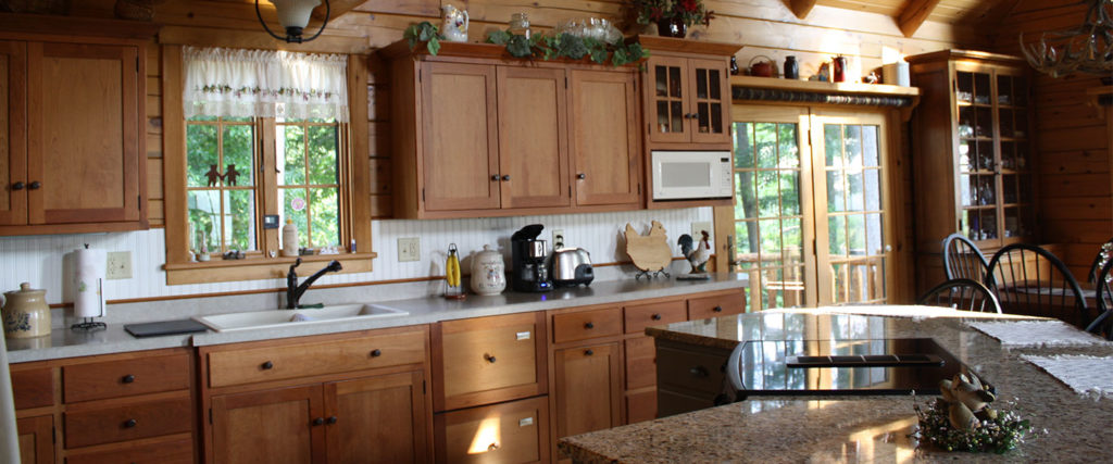 atglen log home with modern kitchen