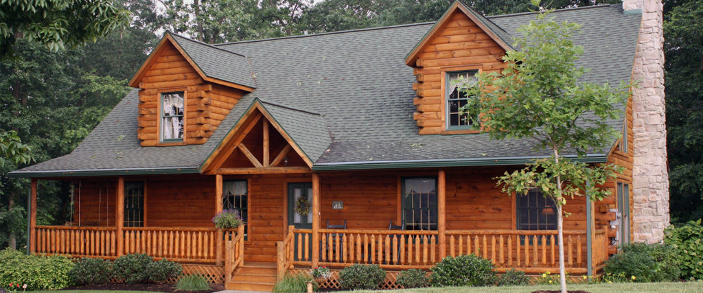 atglen model log home with front porch
