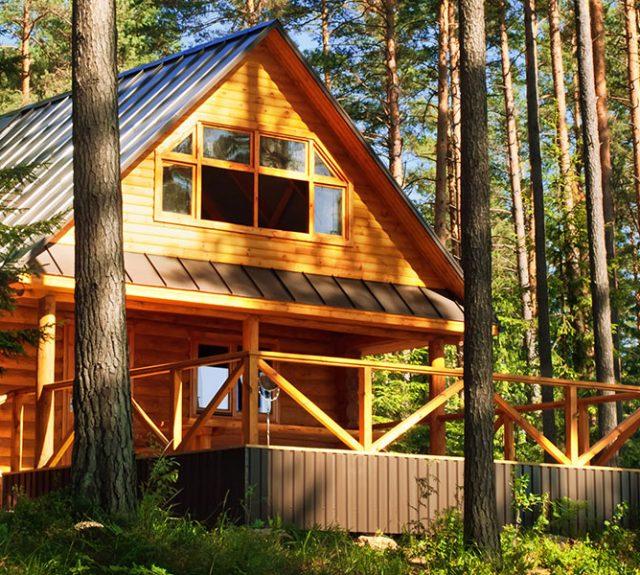 log house built with log cabin kit