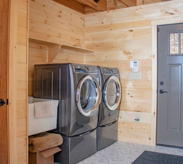log cabin plans with laundry room