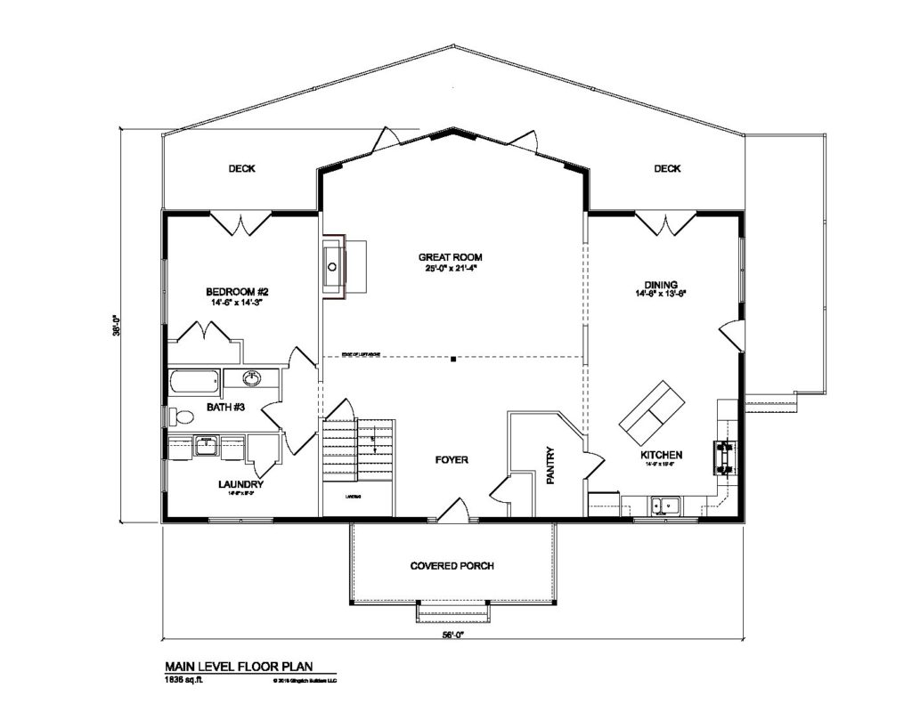 Bradford model log home plans first floor