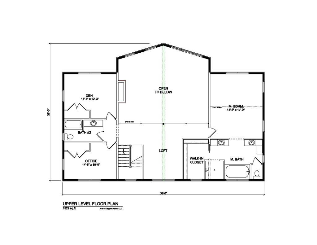 Bradford model log home plans second floor