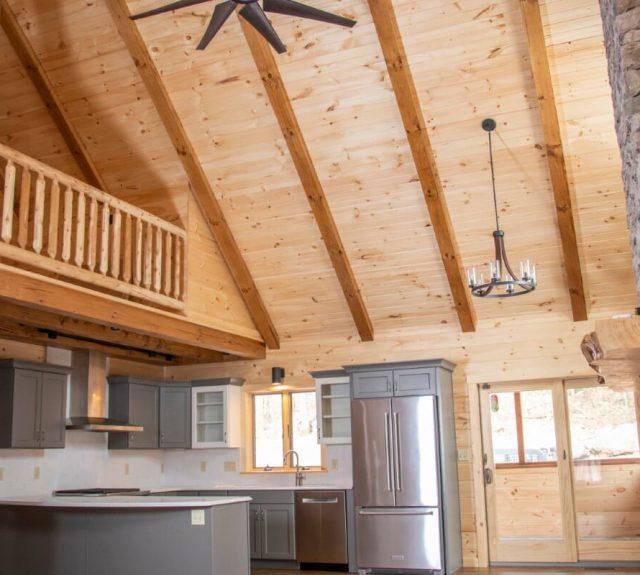 open floor plan log cabin