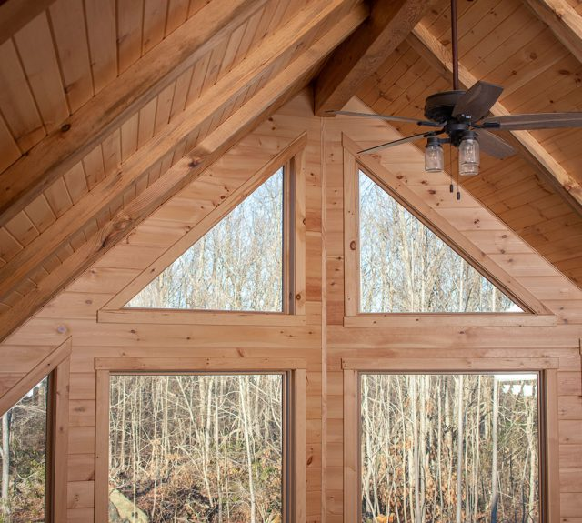modern log cabin great room window