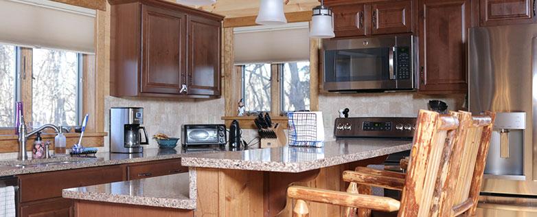 affordable log home kitchen