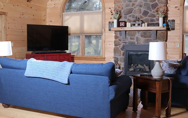affordable log cabin grand living room