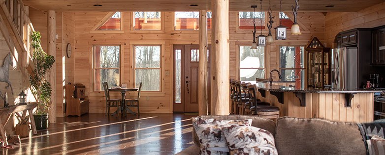 luxury log home interior