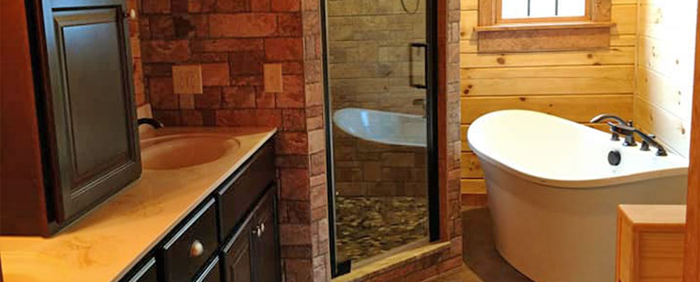 dream log cabin master bathroom
