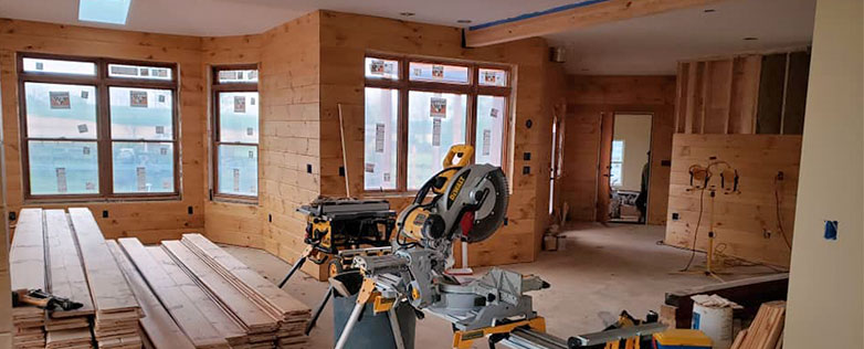 inside of log home being built