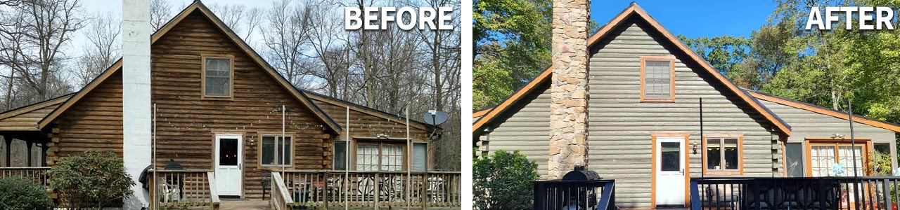 Before and after log home maintenance